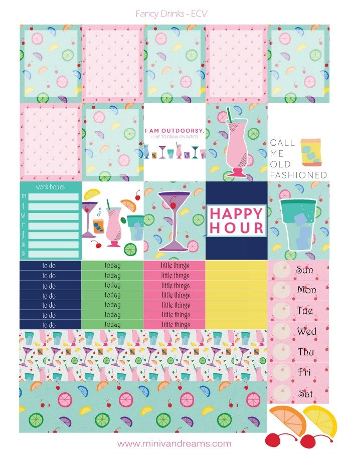 Free Printable Planner Stickers: Fancy Drinks
